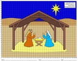 Nativity, Creche, Christmas, Coordinate Drawing & Graphing, Mystery Picture