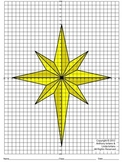 Christmas Star - 4 Quadrants, Coordinate Drawing & Graphing, Mystery Picture