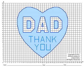 Dad, Father's Day, Valentine's Day, Coordinate Graphing, Coordinate Drawing