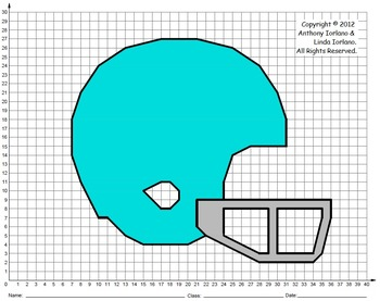 Football Helmet, Bowl & Title & Playoff Games, Coordinate Graphing & Drawing