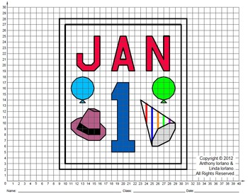 New Years, January 1, Coordinate Drawing, Coordinate Graphing