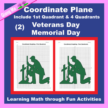 Coordinate Graphing: Memorial Day / Veterans Day 4 in 1