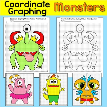 Monsters Coordinate Graphing Ordered Pairs Mystery Pictures
