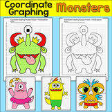 Monsters Coordinate Graphing Pictures - Fun End of the Year Math Worksheets