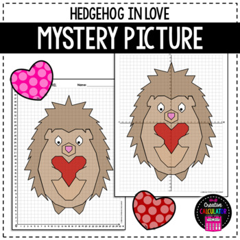 Coordinate Graphing Mystery Picture - Hedgehog In Love - Valentine's Day