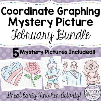 Coordinate Graphing Mystery Pictures February BUNDLE! 20%