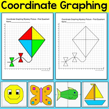 Coordinate Graphing Ordered Pairs Mystery Pictures: Bird, Butterfly, Fish etc