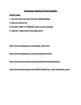 Coordinate Graphing Online Activities
