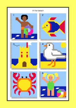 Coordinate Graphing - Ordered Pairs - Hidden Picture - Beach / Summer