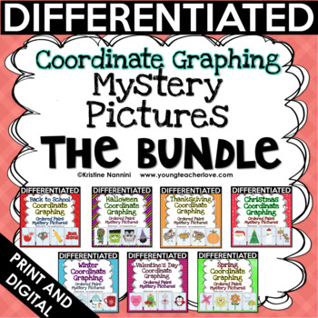 Coordinate Graphing Pictures - Math Activities Back to School Activities BUNDLE