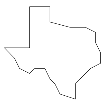 Texas Map Outline Coordinate Graphing / Ordered Pairs OUTLINE MAP of TEXAS by