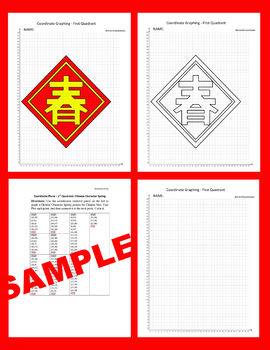 Chinese New Year Coordinate Graphing Picture: Chinese Character Spring