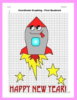 Happy New Year Coordinate Graphing Picture: Rocket