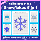 Winter Coordinate Graphing Picture: Snowflakes Bundle 5 in 1