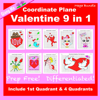 Coordinate Graphing Picture: Valentine Mega Bundle 9 in 1