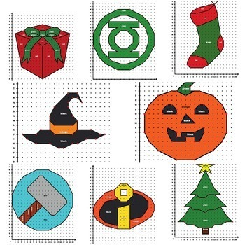 Coordinate Graphing Pictures - Math Mystery - Math Puzzles - Sub Plans 3-5 Gr