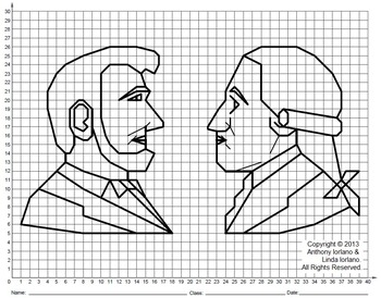 President's Day, Lincoln, Washington, Coordinate Drawing, Coordinate Graphing