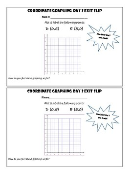 Coordinate Graphing Quadrant 1 Exit Slips