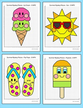 Coordinate Graphing Pictures Ordered Pairs - Summer End of the Year Activity
