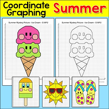 Summer Coordinate Graphing Pictures - Coordinate Plane End of Year Activity