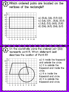 Coordinate Graphing Task Cards- TEKS 5.8A, 5.8 and 5.8C