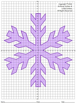 Snowflake, Winter, Coordinate Drawing, Coordinate Graphing ...