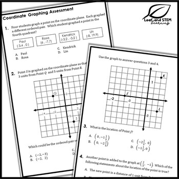 Coordinate Graphing in All Quadrants Interactive Notebook Set
