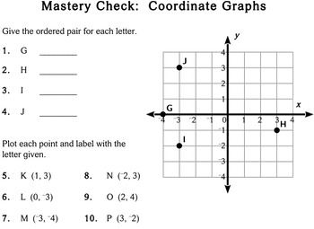 Coordinate Graphs, 5th / 6th grade - worksheets - Individualized Math