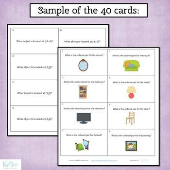 Coordinate Grid 4 Quadrant Flash Cards or Task Cards