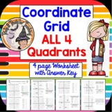 Coordinate Grid ALL 4 Quadrants Worksheet Answer KEY Smartboard Graphing