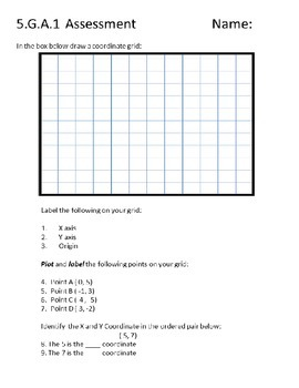 Geometry - Coordinate Grid Assessments