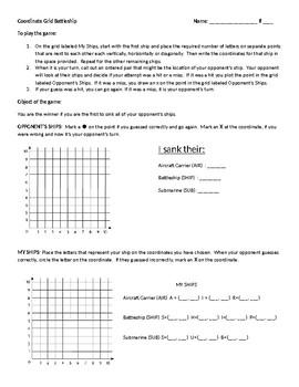 Coordinate Grid Battleship - Quadrant 1