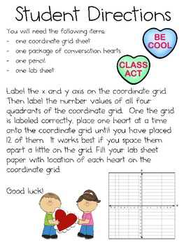 Coordinate Grid Graphing with Valentine Conversation Hearts