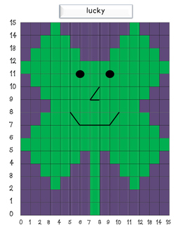 "Coordinate Grid Mystery Picture-Clover ""St. Patrick's Day"""
