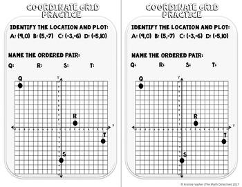 Coordinate Grid: Plotting & Quadrants - Doodle Note Brochure for INB