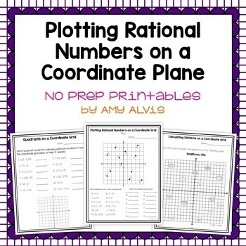 Plotting Rational Numbers on a Coordinate Plane NO PREP Printables