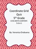 Coordinate Grid Quiz 5th Grade