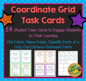 Coordinate Grid Task Cards-Plotting Points, Distance on a