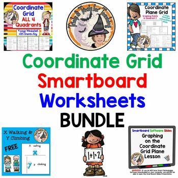 Coordinate Grid Worksheets Smartboard BUNDLE