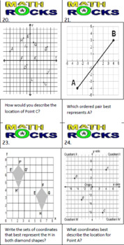 Coordinate Plane and Coordinate Grids Math Task Cards