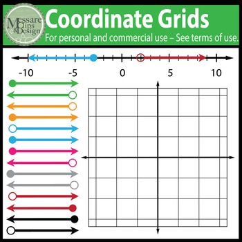 Coordinate Grids and Number Lines Clip Art {Messare Clips