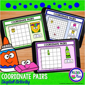 Coordinate Pairs Digital Activity for Google Classroom - School Supplies