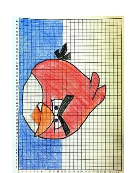 Coordinate Pictures Angry Birds Ordered Pairs - Red Bird