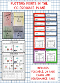 Coordinate Plane:Plotting Points: Graphic Organizer with Task Cards