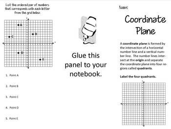 Coordinate Plane (4 Quadrants) Print n' Fold (Foldable) Interactive Notebook