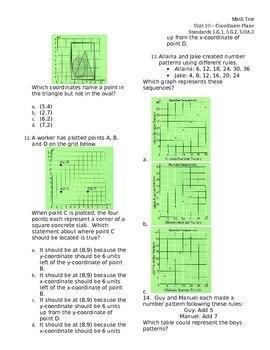 Coordinate Plane 5.G.1  5.G.2  5.OA.3 ASSESSMENT Test