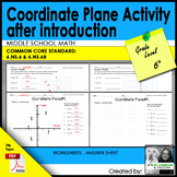 Coordinate Plane Activity after introduction