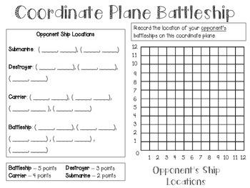 Coordinate Plane Battleship - Using Ordered Pairs