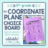 Coordinate Plane Choice Board - 5th Grade, Editable