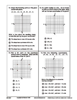 Coordinate Plane Concepts - Pre and Post Assessment